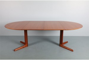 Generous Danish Oval Dining Table by Dyrlund