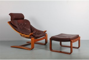 Nelo Mobel Leather Chair and Ottoman