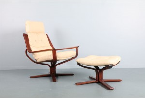 Joe Rufenacht Leather Chair and Ottoman