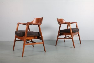 Sculptural W. H. Gunlocke Occasional Chairs
