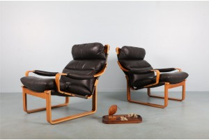 Pair of Tessa T8 Leather Armchairs