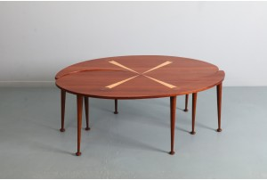 Elegant American Two Part Inlayed Coffee Table