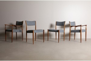 Eight sculptural Tony Parker Dining Chairs by Parker
